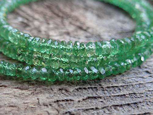 LKBEADS AAA tanzansk kelly smaragd livfull grön tsavorit granat   facetterade rondeller   2,75 – 3,75 mm   säljs i set med 12 rondeller – behöver 28 mätkod – HIGH-32193