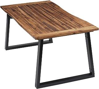 Zerone Table à Manger Industrielle à Domicile, Table d'Appoint Rectangulaire Vintage Table à Dîner avec Cadre Métallique p...