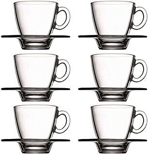 """Pasabahce 95040 - 6 tazas de café con platillo """"Aqua&"""