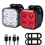 TESHUDI Bike Lights Set, Super Bright Bicycle Lights, IPX4 Waterproof Bike Light Front and Back, Fits All Bikes, 4 Light Mode, Lightweight, Durable
