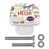 [4 piezas] Tiradores de cajón de cristal transparente con tornillos para cocina, aparador, armario, baño, armario, texto en inglés 'Hello Words' en diferentes idiomas.