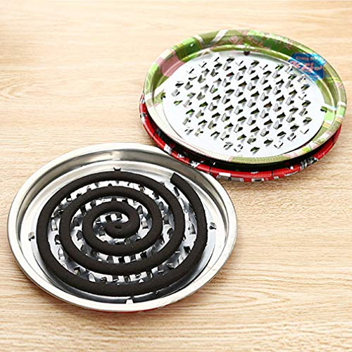 GLA Incense Burner Coil Plate Box Decorative Sink Mosquito Coil Holder Steel (Silver)