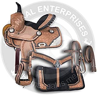 ME Enterprises Premium Leather Western Barrel Racing Adult Horse Saddle Tack, Free Matching Leather Headstall, Breast Collar, Reins & Saddle Pad, 14-18 Inches Seat Available