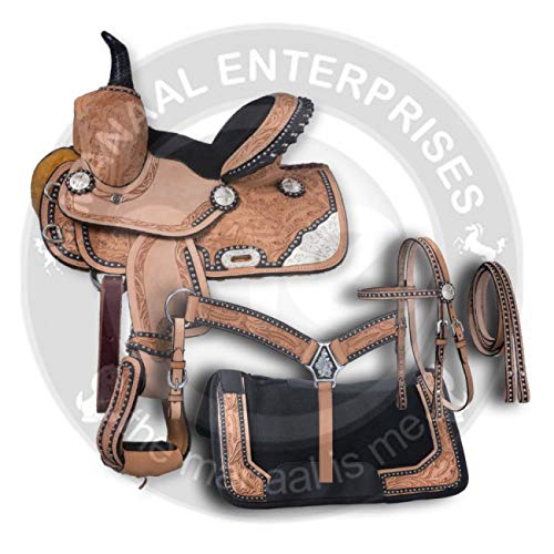 """Manaal Enterprises Premium Leather Western Barrel Racing Adult Horse Saddle Tack, Size 14""""-18"""" Inches Seat Available, (14 inches seat)"""