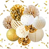 NICROLANDEE Gold White Party Decorations -12PCS Tissue Pom Poms Gold Foil Dots Paper Lantern Glitter Party Confetti 30G Party Supplies for Rustic Vintage Wedding Bridal Shower Baby Shower Backdrop