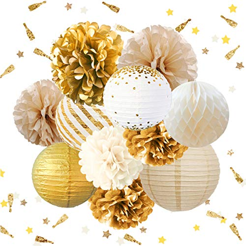 NICROLANDEE Party Decorations - Tissue Pom Poms Papier Lantaarn Glitter Party Confetti 30G Feestartikelen voor Bruiloft Verjaardag Bruidsdouche Baby Douche Achtergrond Wit Goud