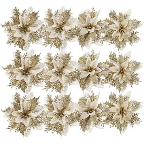 Toddmomy 24 Pezzi Decorazioni Natalizie Poinsettia Glitter Fiori di Natale Artificiali per Ornamenti Albero di Natale (Dorato)