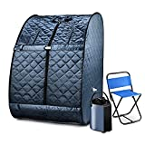 Portable Steam Sauna, Foldable Lightweight Steam Saunas for Home Spa, 3L & 800W Steam Generator with Protection, Bag & Chair Included, Steam Sauna with Remote Control for Recovery Wellness Relaxation