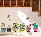 ufengke® Plantas en Macetas de Colores y Abejas Lindas Pegatinas de Pared, Sala de Estar Dormitorio Removible Etiquetas de la Pared/Murales