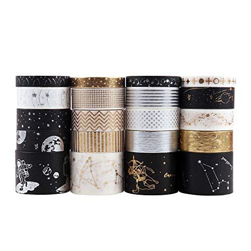 Washi Tape Set, Lychii 20 Rollen Gold Stamping Masking Tapes, Multi-Pattern Dekoratives Klebeband Kollektion für Kunst und Heimwerker, Verschönern Bullet Journals, Planer, Scrapbooking