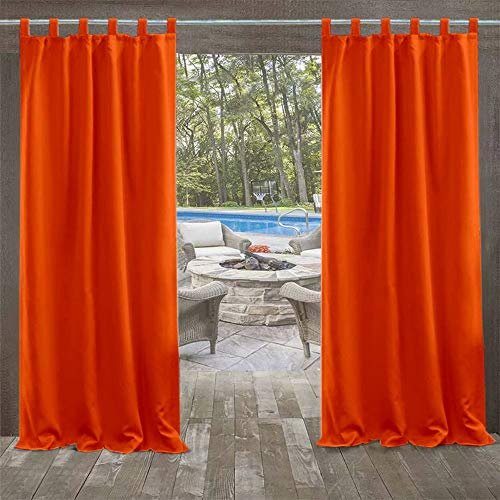DOMDIL outdoor curtains garden canopy balcony curtains 132 x 245 cm blackout curtains with Velcro closure, waterproof mildew resistant, gazebo beach house, 1 piece (1 pack), orange