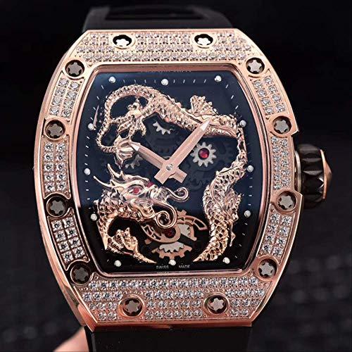 LKYH Klassische Armbanduhr Black Rubber Männer Saphir -automatische mechanische Drache Phoenix Rose Gold Iced Diamant Tourbillon Skeleton UhrRose Gold