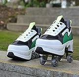 AGLOAT Patines para mujer, Quad Roller Skates para niños, con ruedas para niñas/zapatos unisex, zapatos de patada para adultos, zapatos de skate técnicos para deportes al aire libre, verde-39EU