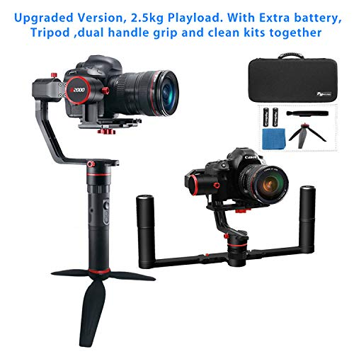 Feiyutech A2000 Upgraded Dual Grip Handle Kit for Ony/DSLR Camera, Foldable Handle,Compatible with Nikon/SCANON Series Camera and Lens, 2.5KG Payload, Including Tripod and Extra Battery