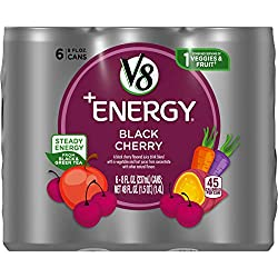 V8 +Energy Healthy Energy Drink, Natural Energy from Tea, Black Cherry, 8 Oz Can, 6 Count
