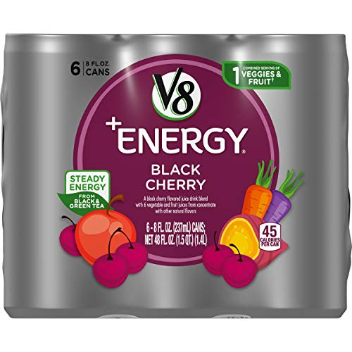 V8 Energy Juice Drink with Green Tea Black Cherry 8 oz Can 6 Count