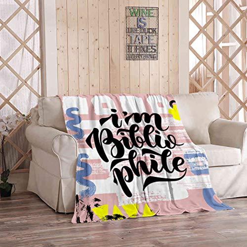 Kuidf Bonita manta bibliófilo citas lindas mantas de franela de lujo para sofá cama o sofá de 50 x 60 pulgadas