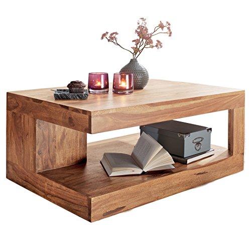 WOHNLING Couchtisch Massiv-Holz Akazie 90 cm breit Wohnzimmer-Tisch Design Natur-Produkt Landhaus-Stil Beistelltisch Wohnzimmermöbel Unikat modern Massivholzmöbel Echtholz rechteckig braun