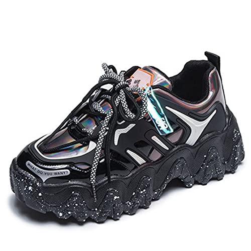 Moda Comodidad con Cordones Transpirables Colores Mezclados Mujeres Zapatillas Gruesas Suela Gruesa Antideslizante Casual All-Match Zapatos Deportivos para Mujer