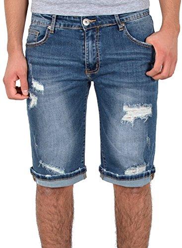 ESRA Herren Shorts Kurze Hose mit Risse Jeans Bermuda Shorts Kurze Sommer Hose Destroyed Look A383