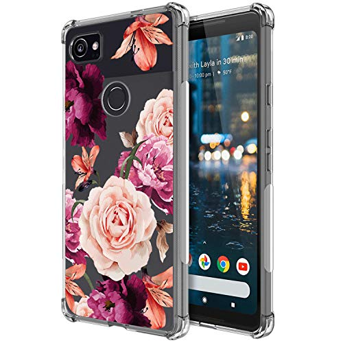 KIOMY Flowers Shockproof Phone Case for Google Pixel 2 XL, Clear Case with Floral Design Slim Flexible Cute Girly Cell Phone Cover with Bumper Corner for Girls Women