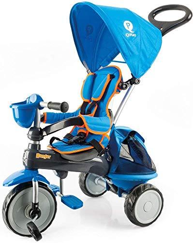 Qplay PL Ocirends 120T driewieler Ranger blauw gewatteerd met tas en kap 73 x 48 x 98 cm, unisex baby