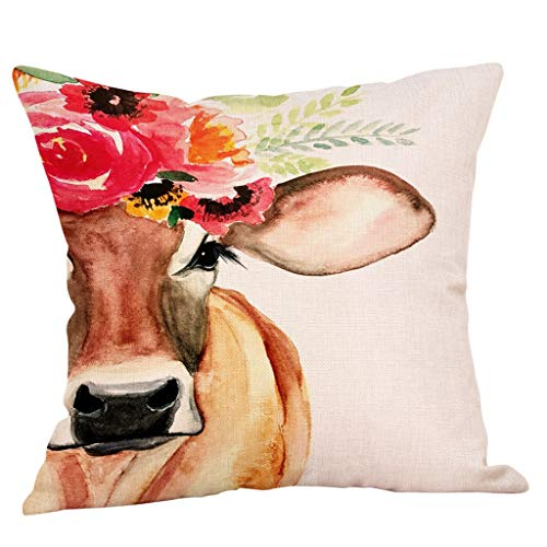 FeiliandaJJ Kissenbezug Kissenhülle Kopfkissenbezug Tiere Ölgemälde Kuh Drucken Super Weich Home Dekoration Pillowcase Sofakissen für Wohnzimmer Sofa Bed,45x45cm (A)