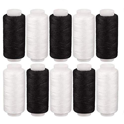 縫い糸 縫糸 手縫い系 ミシン糸 2色の黒白 基本色家庭常備糸 裁縫手芸 刺繍用糸 100%ポリエステル (5黒5白)