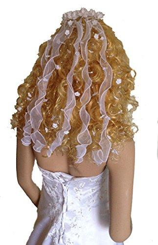 LadyMYP Haarschmuck/Kopfschmuck/Haarbänder mit Perlen und Blüten Hochzeit Kommunion 45cm Länge weiß/Ivory (Ivory (hell Creme))
