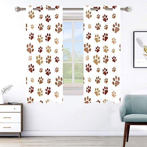 """Dog Paw Print Home Draperies Curtain,Cutly Puppy Pug Window Curtain for Pet Lover, 2 Panel Curtains 42"""" W x 63"""" L Sliding Glass Door Bedroom Living Room Hanging Supplies CLHXMN142"""