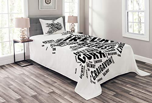 ABAKUHAUS Irland Karte Tagesdecke Set, Moderne Stadt Namen Theme, Set mit Kissenbezügen Waschbar, für Einzelbetten 170 x 220 cm, Weiß Grau