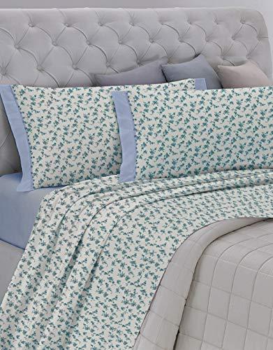 GEMITEX Juego de sábanas Fabricado en Italia, Franela de 100% algodón, para Cama de Matrimonio, línea Enjoy, diseño G11 Variante 01 Azul, con Tratamiento Gemitex