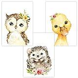 Wandbilder 3er Set für Babyzimmer Deko Poster | Kunstdruck DIN A4 | Dekoration Kinderzimmer (Auf...