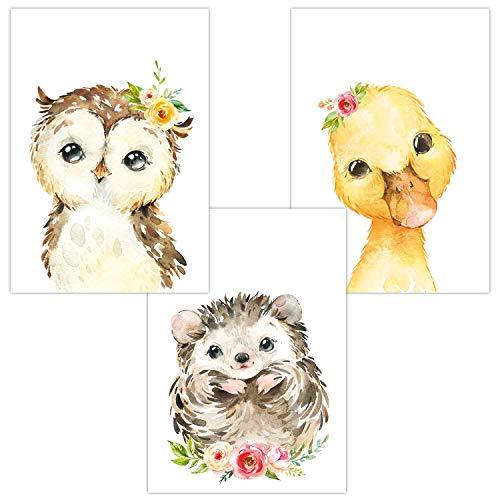 Wandbilder 3er Set für Babyzimmer Deko Poster | Kunstdruck DIN A4 | Dekoration Kinderzimmer (Auf dem Feld Eule Igel Ente)