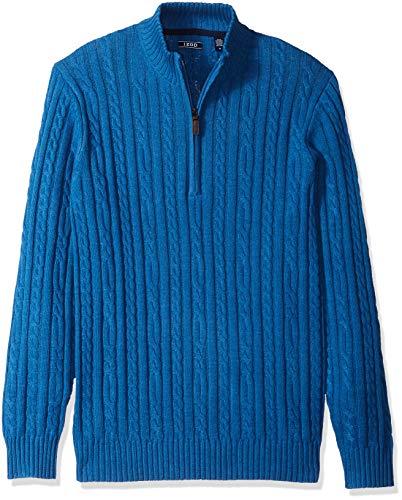IZOD Men's Premium Essentials Solid Quarter Zip 7 Gauge Cable Knit Sweater, Brigth cobalt, Medium