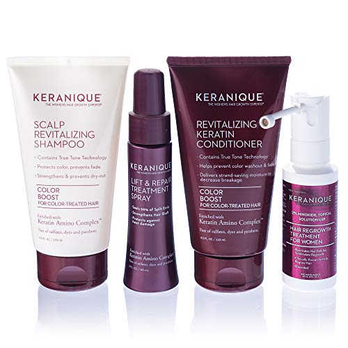 Keranique Hair Regrowth System – 30 Days - Keratin Amino Complex - Free of Sulfates, Dyes and Parabens, Includes Shampoo and Conditioner, Minoxidil and Lift and Repair Spray for Colored Thinning Hair