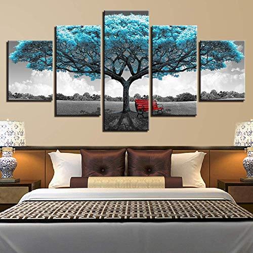 5 stuks Canvas schilderij blauw grote boom rode stoel muur kunst woonkamer slaapkamer decoratieve schilderij, 100x55cm Eén maat 20x35cmx2 20x45cmx2 20x55cmx1