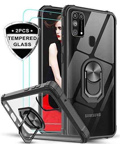 LeYi Funda Samsung Galaxy M31 con [2-Unidades] Cristal Vidrio Templado,Transparente Carcasa con 360 Grados iman Soporte Silicona Bumper Antigolpes Armor Case para Movil M31,Clear Negro