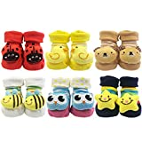 Wrapables 3D Cartoon Anti-Skid Baby Booties Sock Slippers (Set of 6), Cute, 3-12 Months