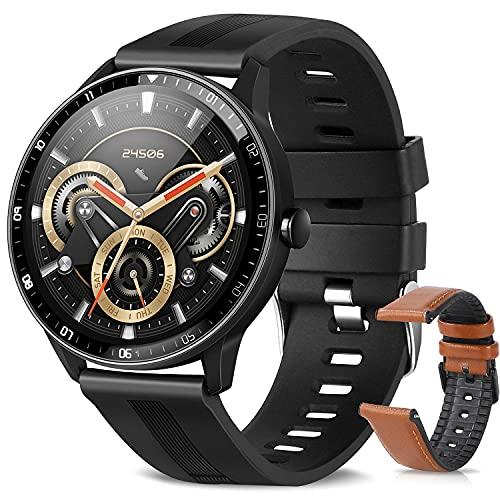 Smartwatch, Reloj Inteligente A Prueba de Agua IP67 para Hombres, Smart Watch 1.3 Pulgadas con 24 Deportes, Ritmo Cardíaco, Caloría, Sueño, GPS, Pulsera de Actividad Inteligente con iOS Android