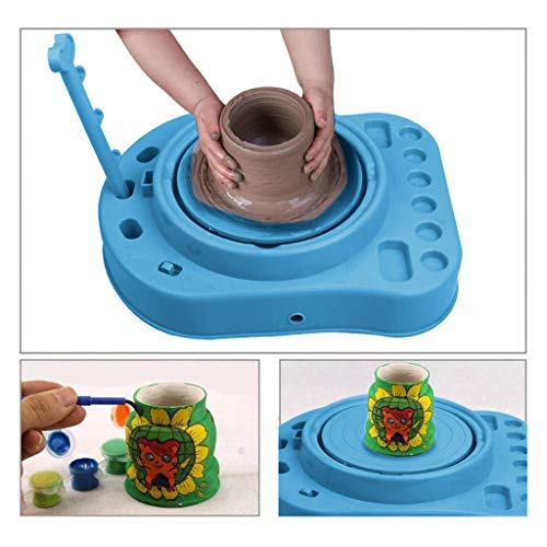 Cigou Kids Bginners Pottery Wheel Kit with Clay Paints and Tools DIY Toy Best Gift (Blue)