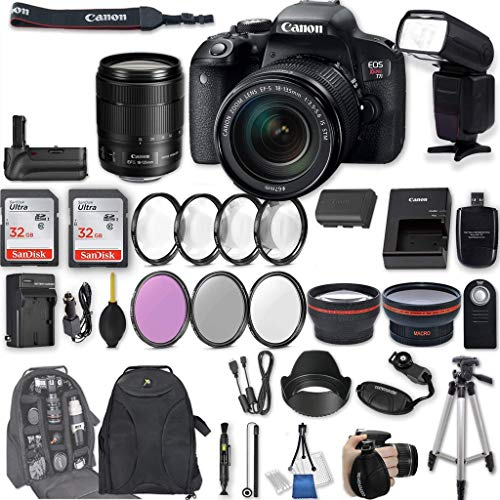 Canon EOS Rebel T7i DSLR Camera + EF-S 18-135mm f/3.5-5.6 is STM Lens + 2Pcs 32GB Sandisk SD Memory + Universal Flash + Battery Grip + Filter & Macro Kits + Backpack + 50' Tripod