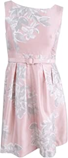 Women's Petite Belted Floral-Print Dress