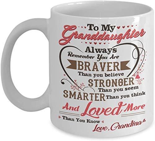 Messaggio d'amore e di sostegno Mia adorabile nipote, sei amata più di quanto tu sappia Tazza da caffè - 11 once Regalo bianco per la nipote Nipote Nonna Nonno nel giorno delle donne Compleanno Natale