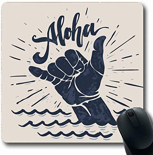 Büro Mausmatte,Mousepads Für Computer,Spiel Mauspad,Matte Mit Genähten Kanten,Lifestyle Surf Aloha Schriftzug Surfen Shaka Handgravur Abstrakte Vintage Surfer Wave Board Gaming Mauspad