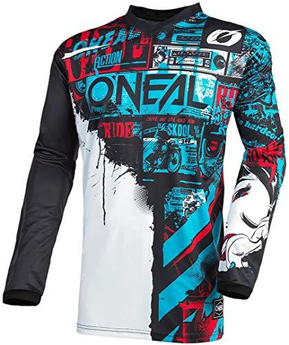 O'NEAL | Motocross-Jersey Langarm | MX Enduro | Gepolsterter Ellbogenschutz, V-Ausschnitt, atmungsaktiv | Element Youth Jersey Ride für Kinder | Schwarz Blau | Größe XL