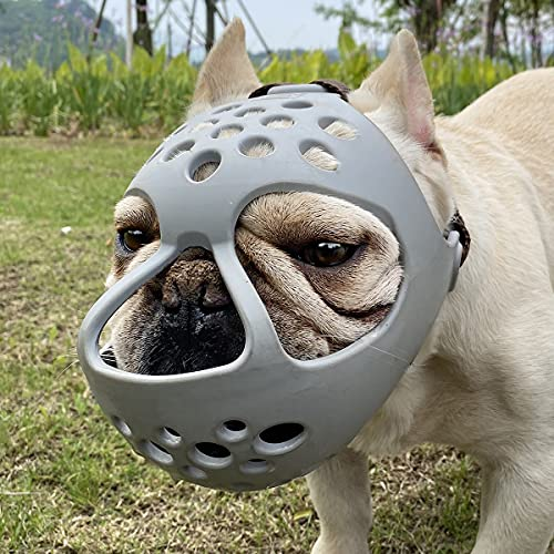 BARKLESS Short Snout Dog Muzzle, Soft Silicone Flat Faced Muzzle for French Bulldog Shih Tzu and Pug for Biting Chewing Licking and Grooming, Allows Panting (S, Grey)