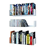 Wallniture Bali White Floating Shelves for Wall, CD DVD Storage Shelves and Metal Bookshelf Set of 3