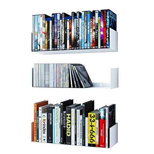 Wallniture Bali White Floating Shelves for Wall, CD DVD Storage Shelves and Metal Bookshelf Set of 3
