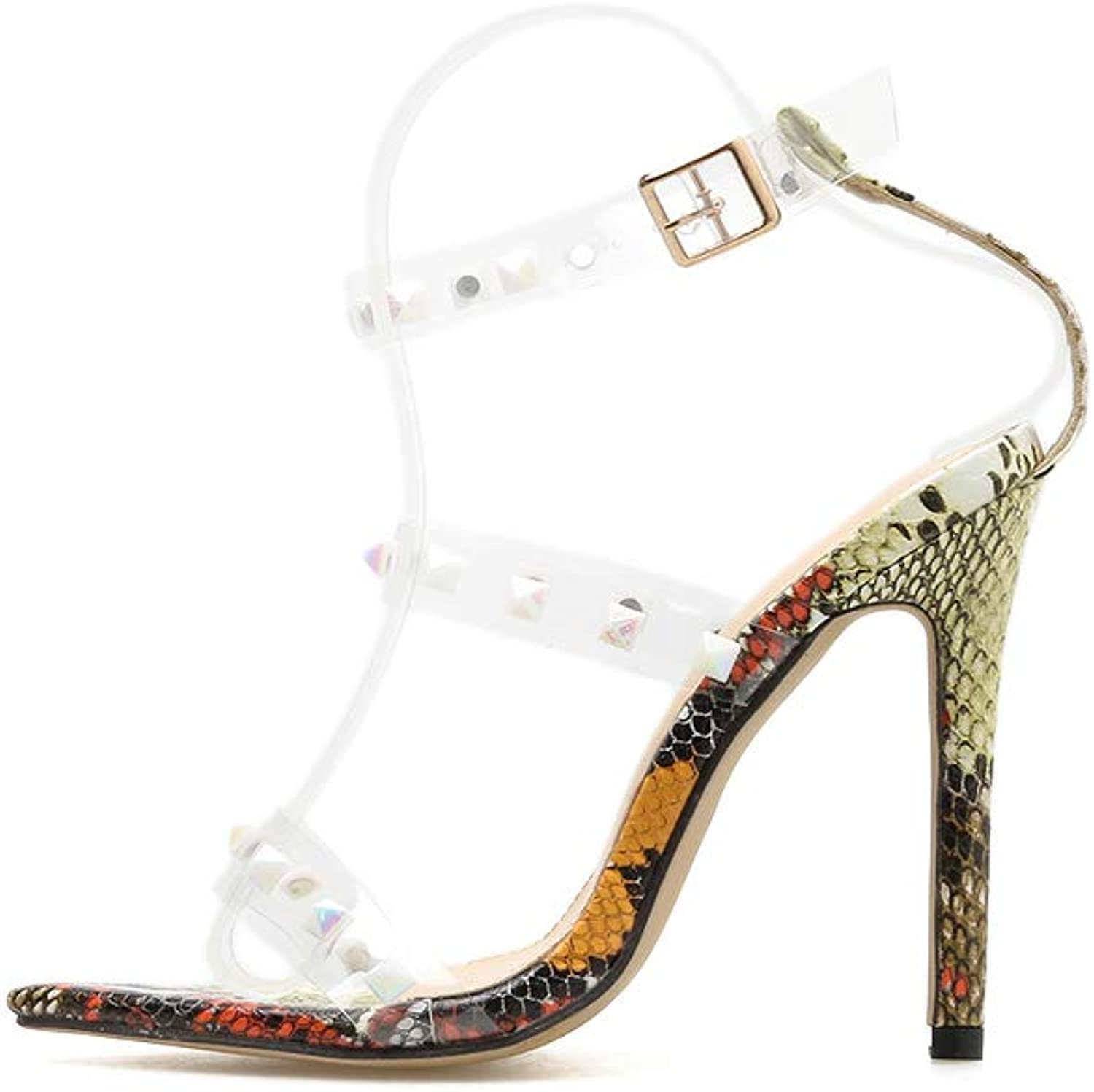 Women's Sandals - Transparent Word with Sexy Pointed Studs, High Heel Snake Sandals